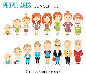plat, âge, ensemble, gens, icônes