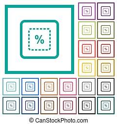 plat, échelle, icônes, couleur, objet, cent, quadrant, cadres