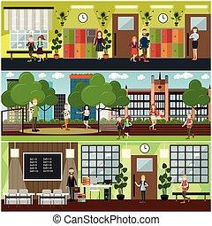 plat, école, concept, ensemble, affiche, vecteur