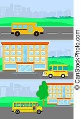 plat, école, concept, ensemble, autobus, style, gosses, bannière