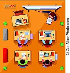 plat, école, concept, sommet, illustration, vecteur, style., vue