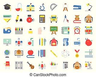 plat, école, ensemble, piscine, livres, aiguisoir, flûte, hibou, pile, conception, apparenté, autobus, natation, tel, agrafe, education, tableau, icône