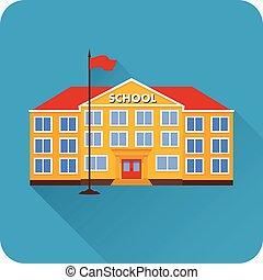 plat, école, icône, bâtiment.