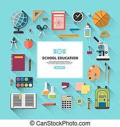 plat, école, style, vecteur, fond, education