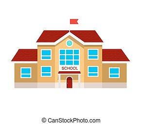 plat, école, vecteur, bâtiment, illustration