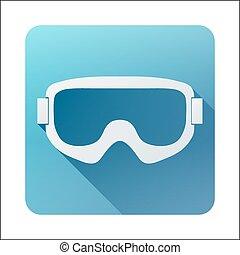 plat, école, vieux, classique, snowboard, goggles., ski, ...