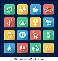 plat, écologie, conception, icônes