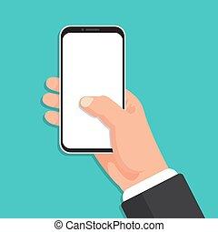 plat, écran blanc, main, smartphone, conception, tenue