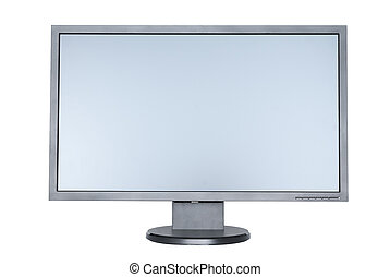 plat, écran large, isolé, informatique, fond, blanc
