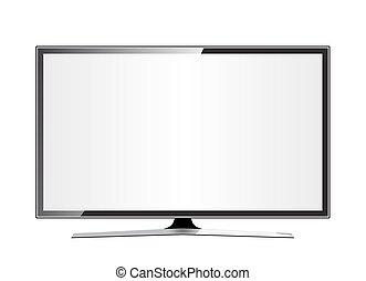 plat, écran tv, réaliste, lcd, plasma