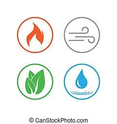 plat, éléments, illustration, symbole., quatre, vecteur, design.