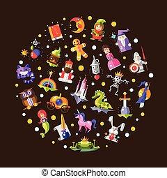 plat, éléments, magie, icônes, contes, illustration, conception, fée