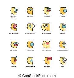 plat, éléments, mental, icônes, contour, gens, cerveau, ...