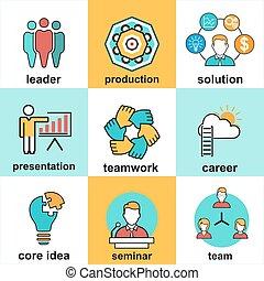 plat, éléments, professionnels, icônes, mettez stylique, ligne, management.