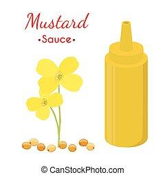 plat, épicé, moutarde, jaune, dessin animé, vecteur, condiment., sauce, style., bouteille