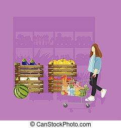 plat, épicerie, achats femme, pourpre, arrière-plans, couleur, vecteur, style.