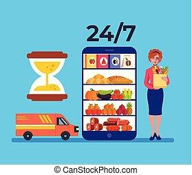 plat, épicerie, graphique, nourriture, concept., internet, illustration, livraison, téléphone, vecteur, conception, ligne, intelligent