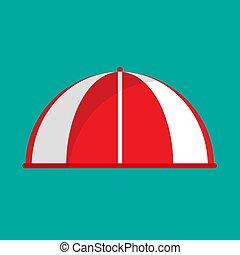 plat, épicerie, marquise, vendange, boutique, parasol, toit, devant, vecteur, raie, façade, icon., parasol, canopy., marché, rouges