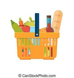 plat, épicerie, organique, sain, concept., foods., nourriture., livraison, vecteur, frais, panier, naturel, icon., achats