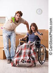 plat, épouse, handicapé, en mouvement, nouveau, mari