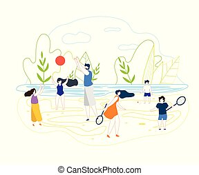 plat, été, vecteur, jeux, fond, rivière, plage