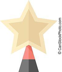 plat, étoile, arbre, -, noël, icône