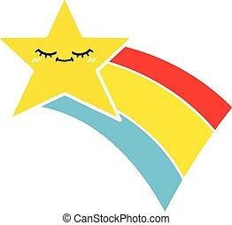 plat, étoile, arc-en-ciel, couleur, retro, tir, dessin animé