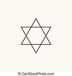 plat, étoile, contour, david, conception, noir, icône
