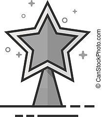 plat, étoile, -, grayscale, arbre, noël, icône