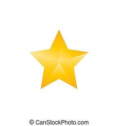plat, étoile, illustration, jaune, vecteur, icon., design.