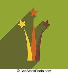 plat, étoile, long, ombre, salut, icône