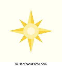 plat, étoile, nord, conception, compas, icône, ou