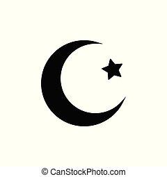 plat, étoiles, illustration, lune, vecteur, arrière-plan noir, icon., blanc