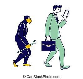 plat, évolution, mâle, caractère, évoluer, droit,...