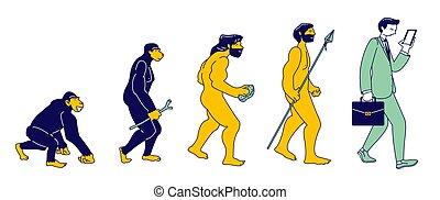 plat, évolution, mâle, caractère, évoluer, droit, theory.,...