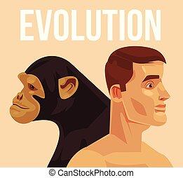 plat, évolution, sapiens., illustration, vecteur, homo,...