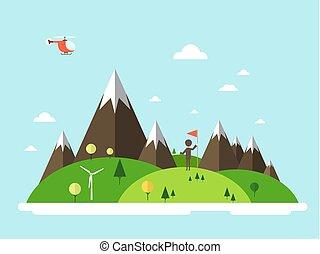 plat, île, sky., drapeau, vecteur, conception, hélicoptère, paysage., homme
