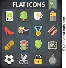 plat, 12, set, iconen