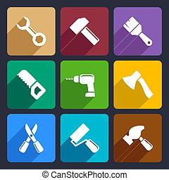 plat, 13, ensemble, fonctionnement, outils, icône