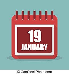 plat, 19, januari, illustratie, vector, kalender, design.