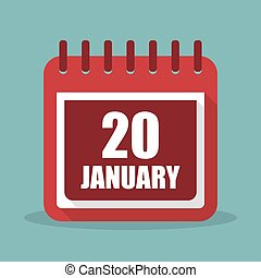 plat, 20, januari, illustratie, vector, kalender, design.