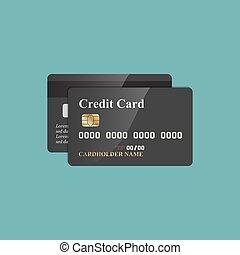 plat, aanzichten, back, kaarten, krediet, voorkant, design.