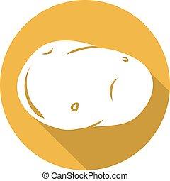 plat, aardappel, pictogram