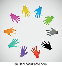 plat, abstraction, couleur, eps, vecteur, hands., icône