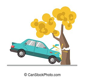 plat, accident, fracas, voiture, arbre, illustration, vecteur