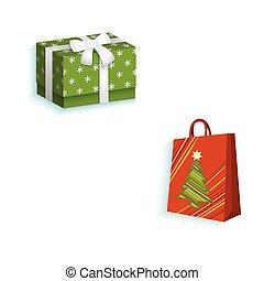plat, achats, boîte-cadeau, sac papier, vecteur, présent
