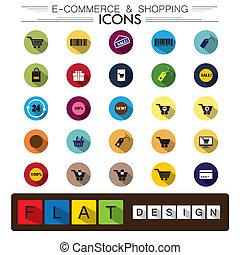 plat, achats, icones affaires, &, e-commerce, vecteur, conception, internet