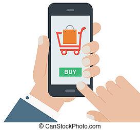 plat, achats, mobile, isolé, mais, conception, fond