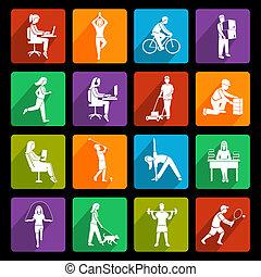plat, activiteit, lichamelijk, iconen