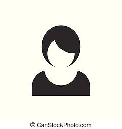 plat, affaires femme, concept., isolé, illustration, signe, arrière-plan., vecteur, avatar, femme, girl, figure, style., blanc, icône
